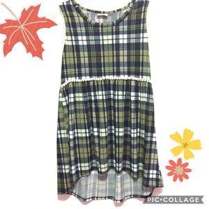 💕High-Low Short Sleeveless Fall Plaid Green Dress